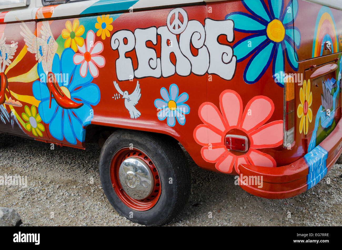 Painted VW, Hippie Van - Stock Image