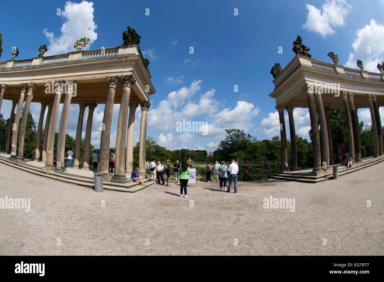 Two segmented colonnades of Sanssouci Palace, Potsdam, Germany, Europe. Stock Photo