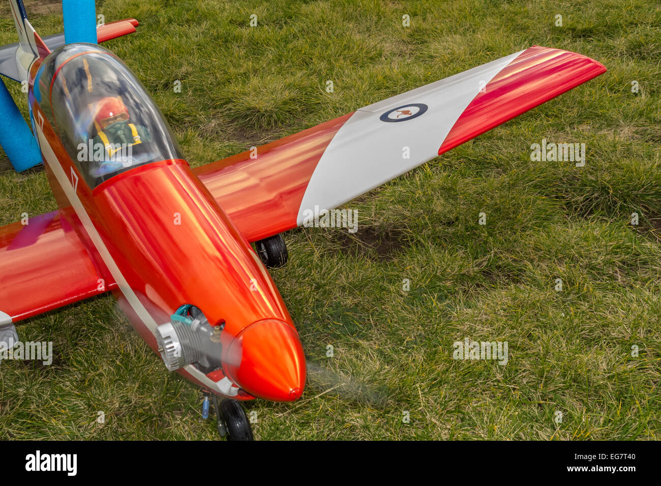 Radio control airplane with engine started - Stock Image