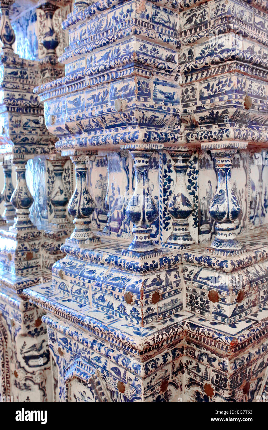 Painted ceramic tile, Monastery of St. Euthymius, Suzdal, Vladimir region, Russia - Stock Image