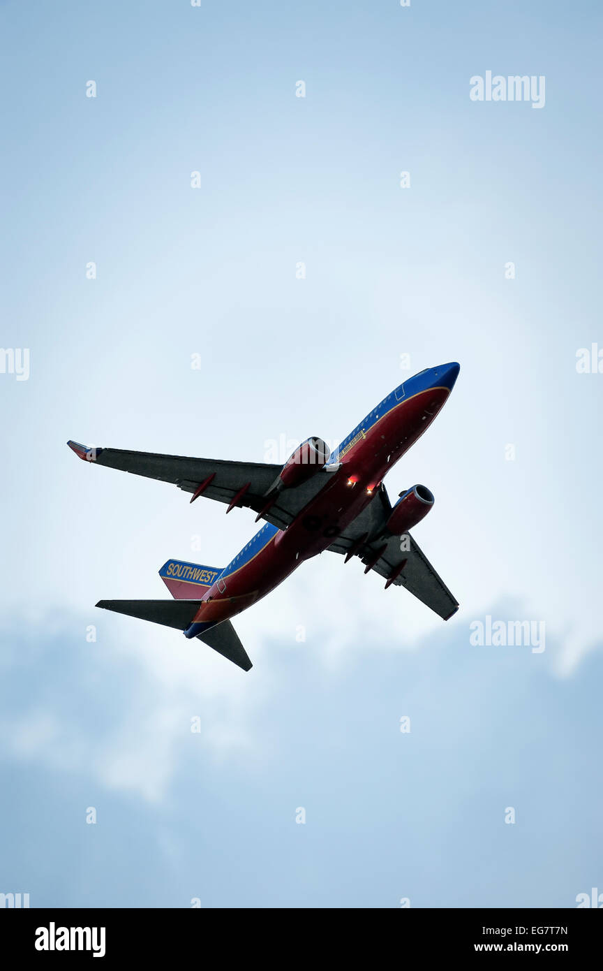 Southwest airlines jet in flight. - Stock Image