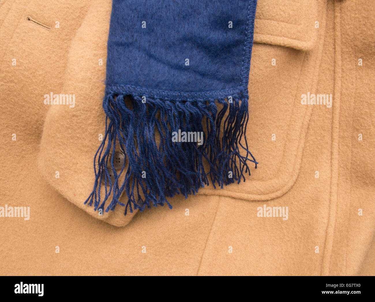 alpaca wool scarf with a formal brown coat - Stock Image