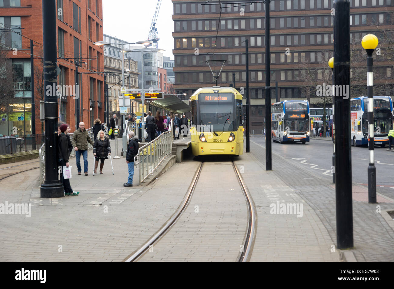 February 2015, Metrolink Tram services are good in Piccalilli Gardens - Stock Image