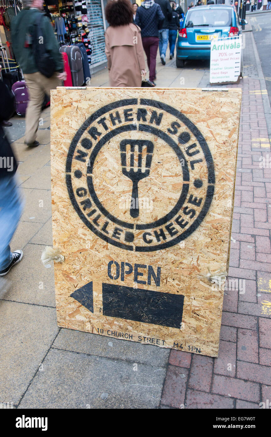 February 2015, sign for new sandwich shop northern soul