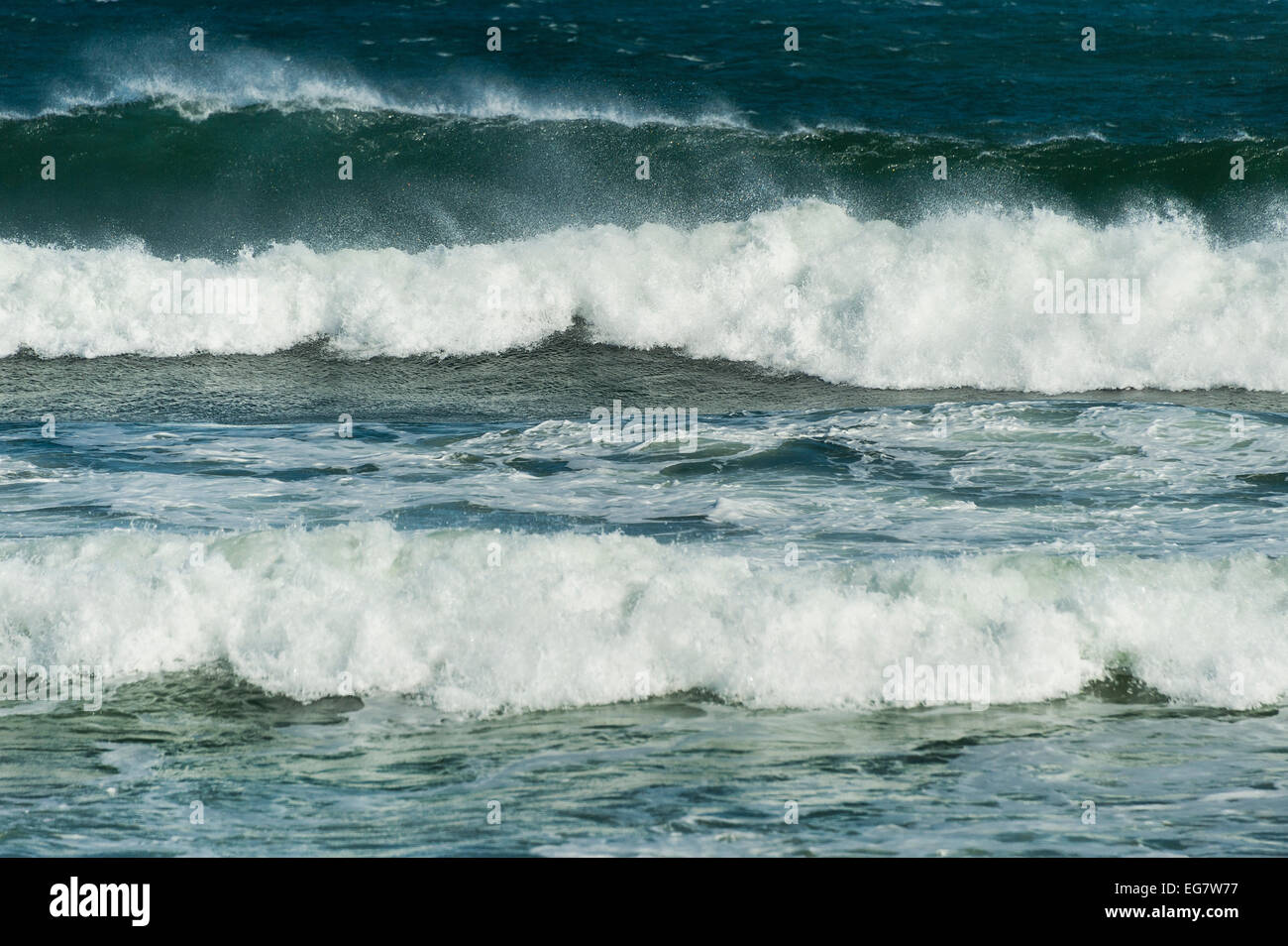 Cresting ocean waves. Stock Photo