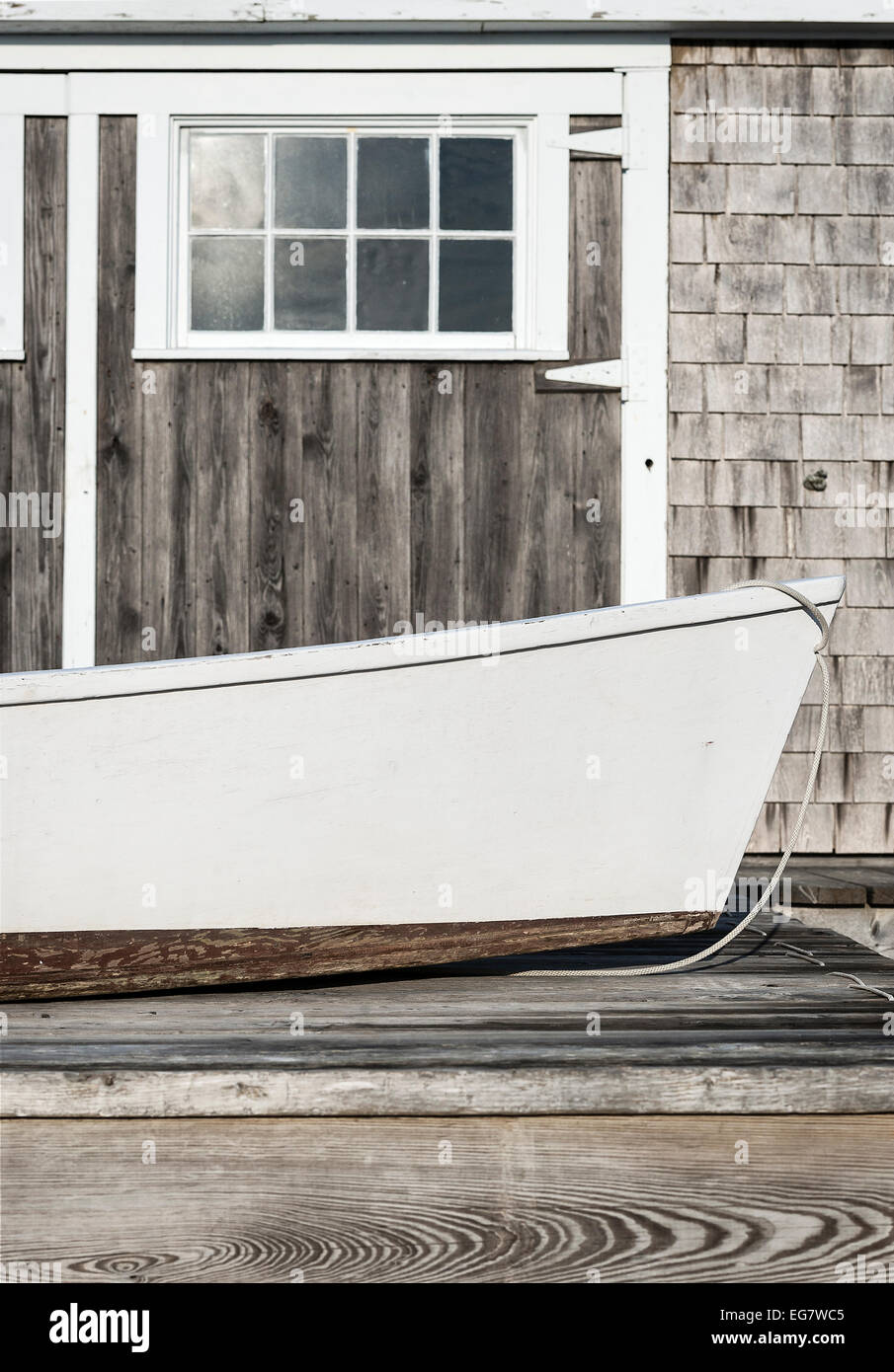 Rowboat and boathouse detail, Cape Cod, Massachusetts, USA - Stock Image