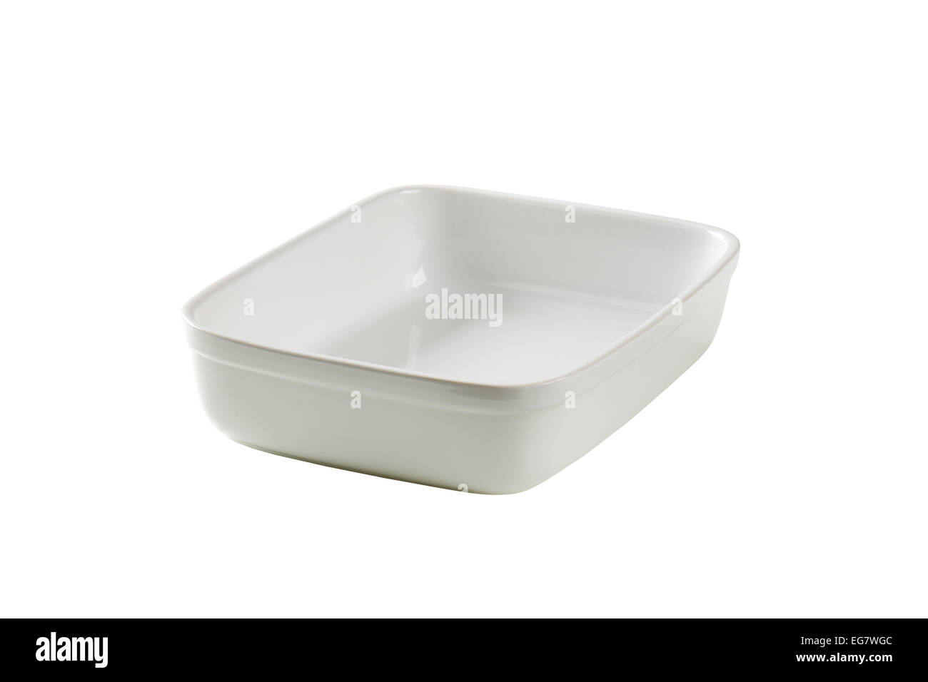 Deep porcelain baker isolated on white - Stock Image