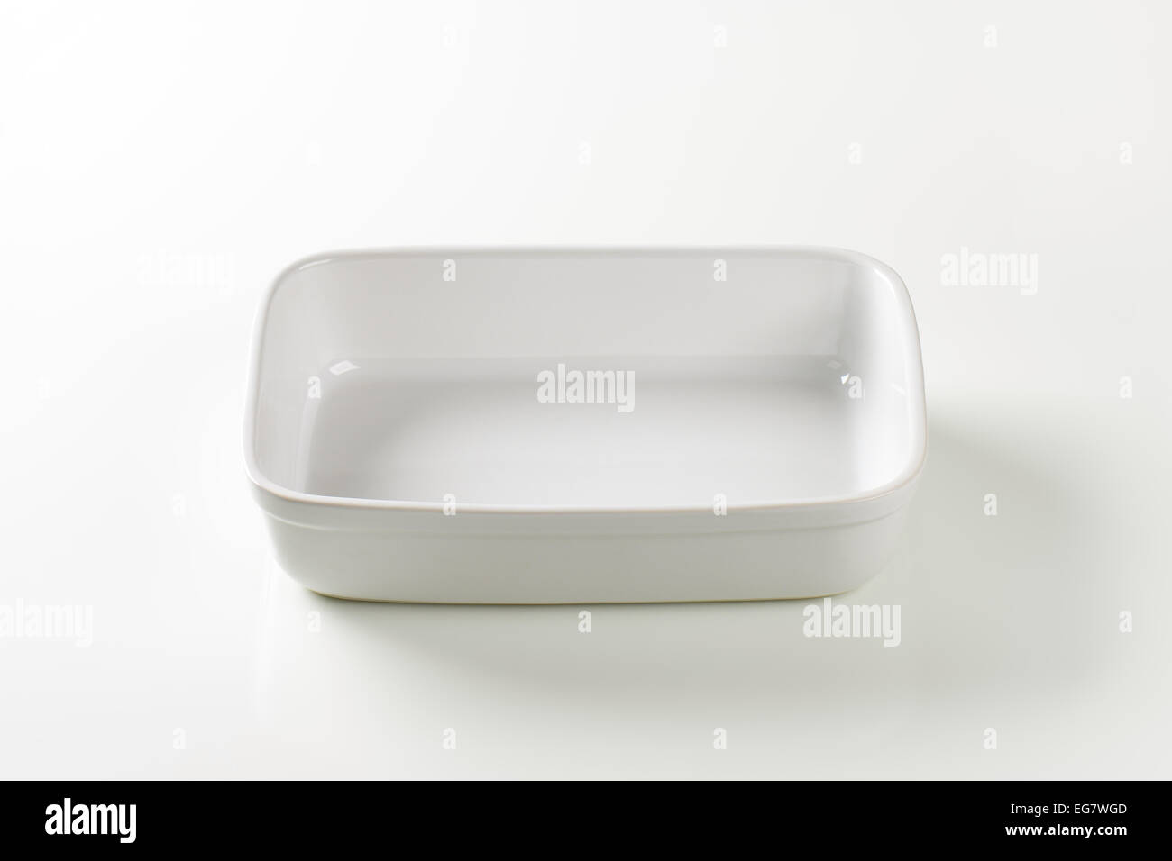 Deep oblong porcelain baking dish - Stock Image