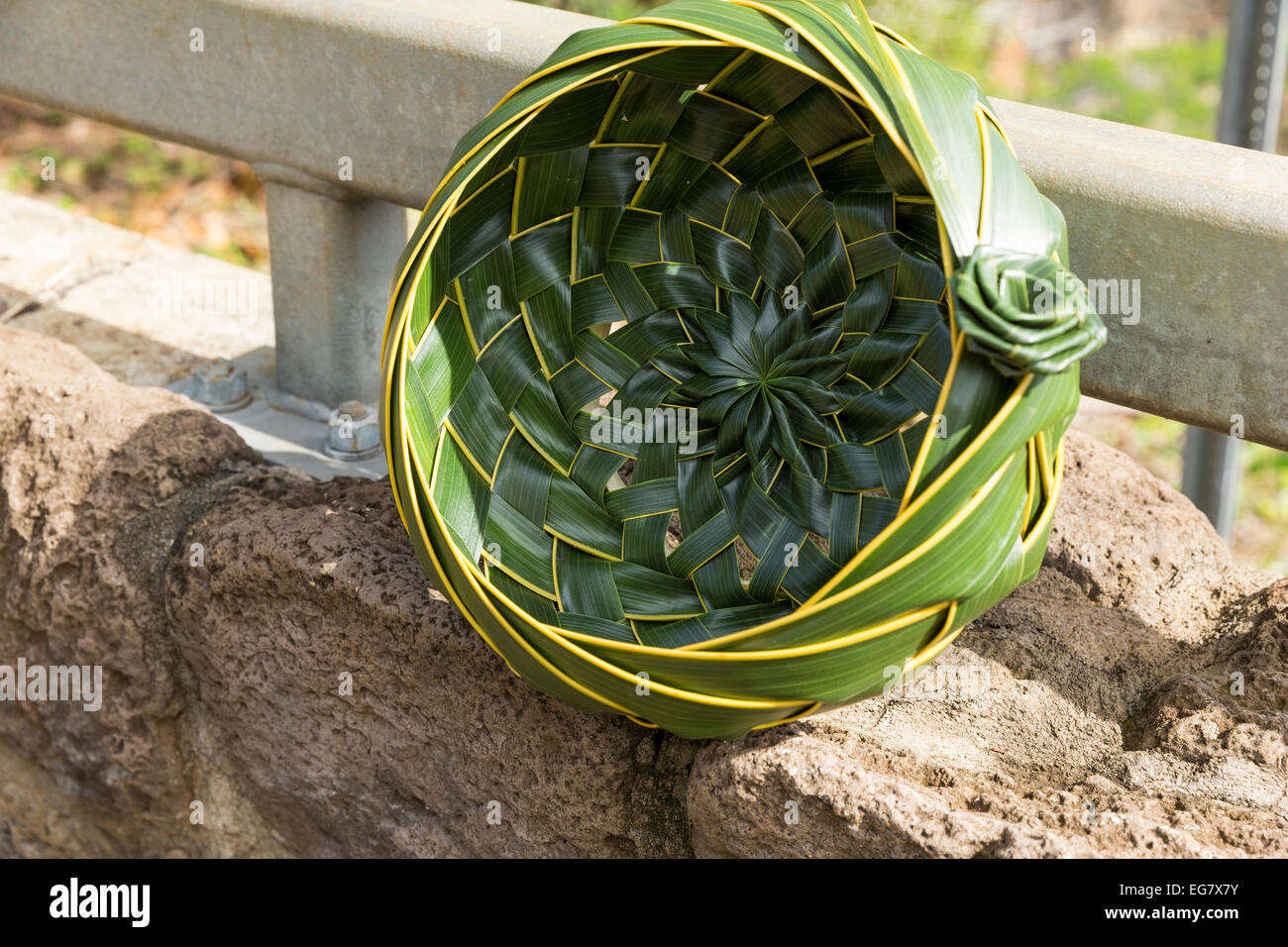 Asian palm leave woven basket