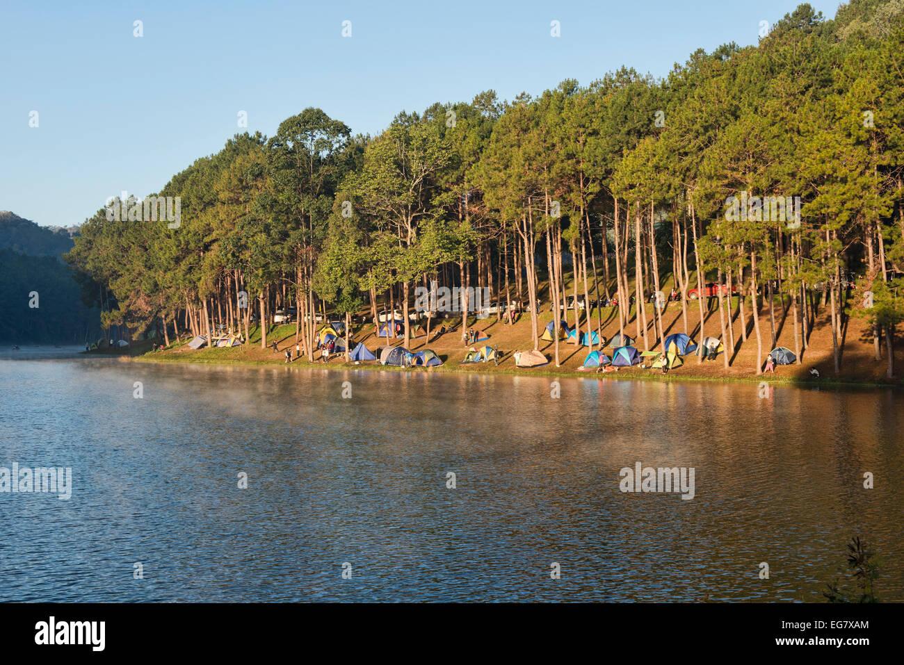 Camping at Pang Ung Lake, Mae Hong Son, Thailand - Stock Image