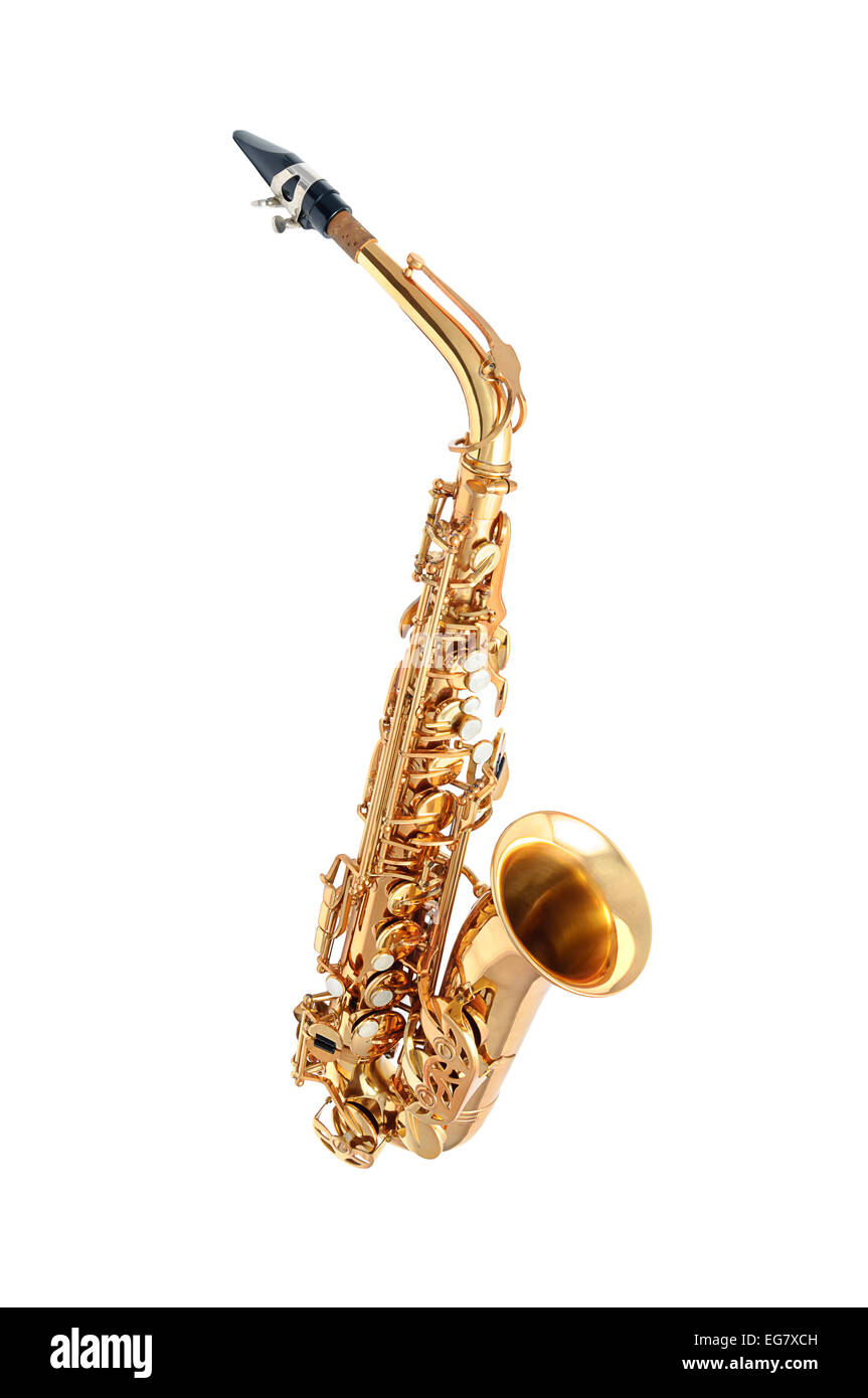 Golden alto saxophone classical instrument isolated on white - Stock Image