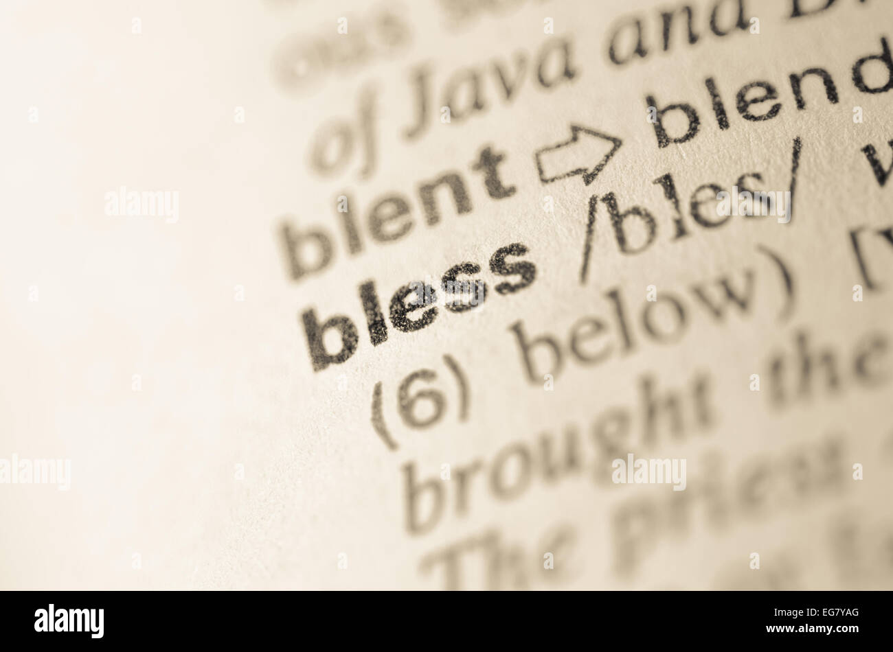 definition of word bless in dictionary stock photo: 78851096 - alamy
