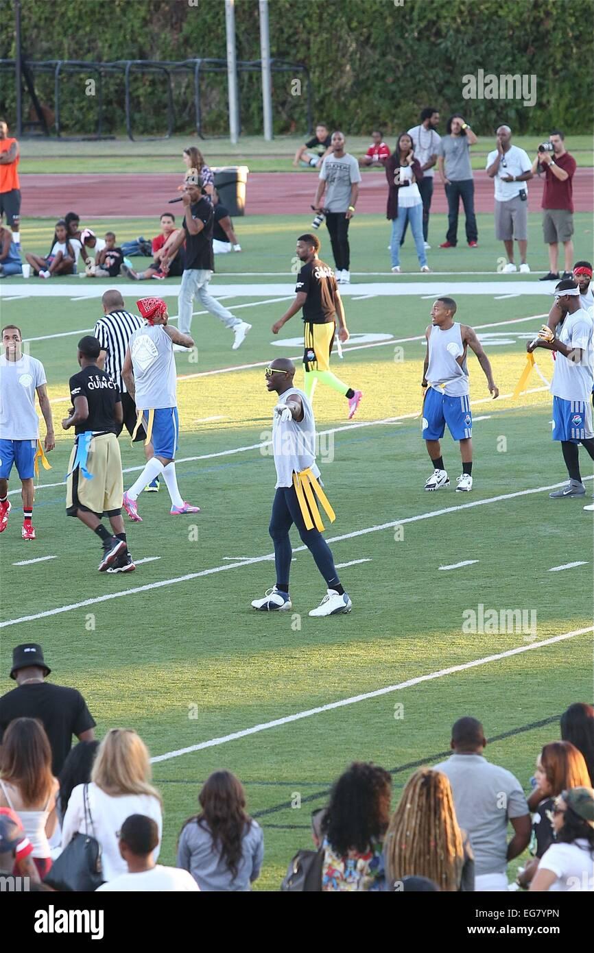 Chris Brown Charity Flag Football Game At Jack Kemp Stadium At Stock