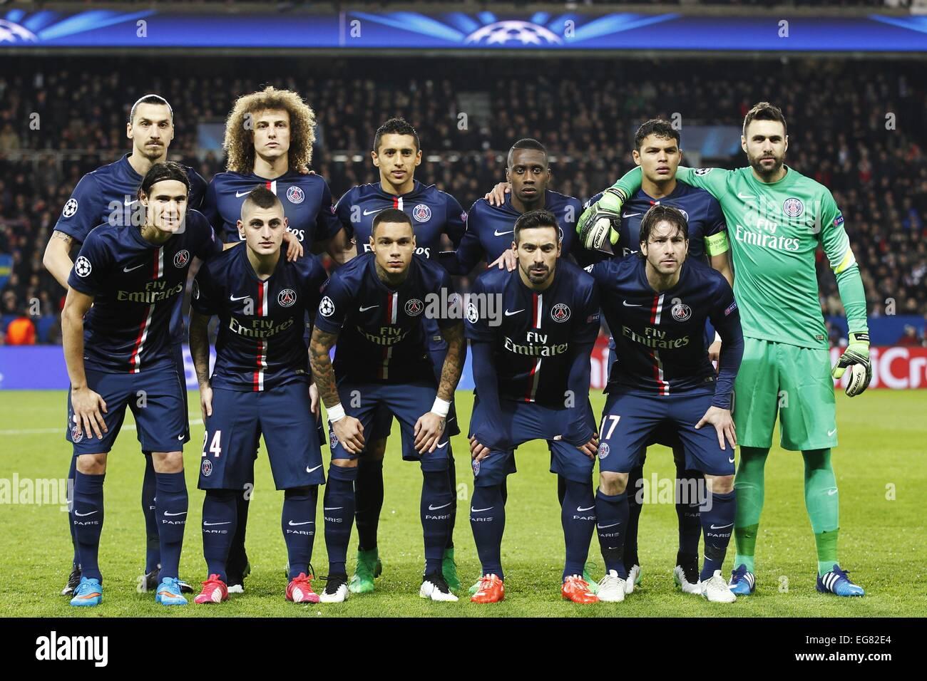 Paris France 17th Feb 2015 Paris Saint Germain Team Group Line Up Stock Photo Alamy