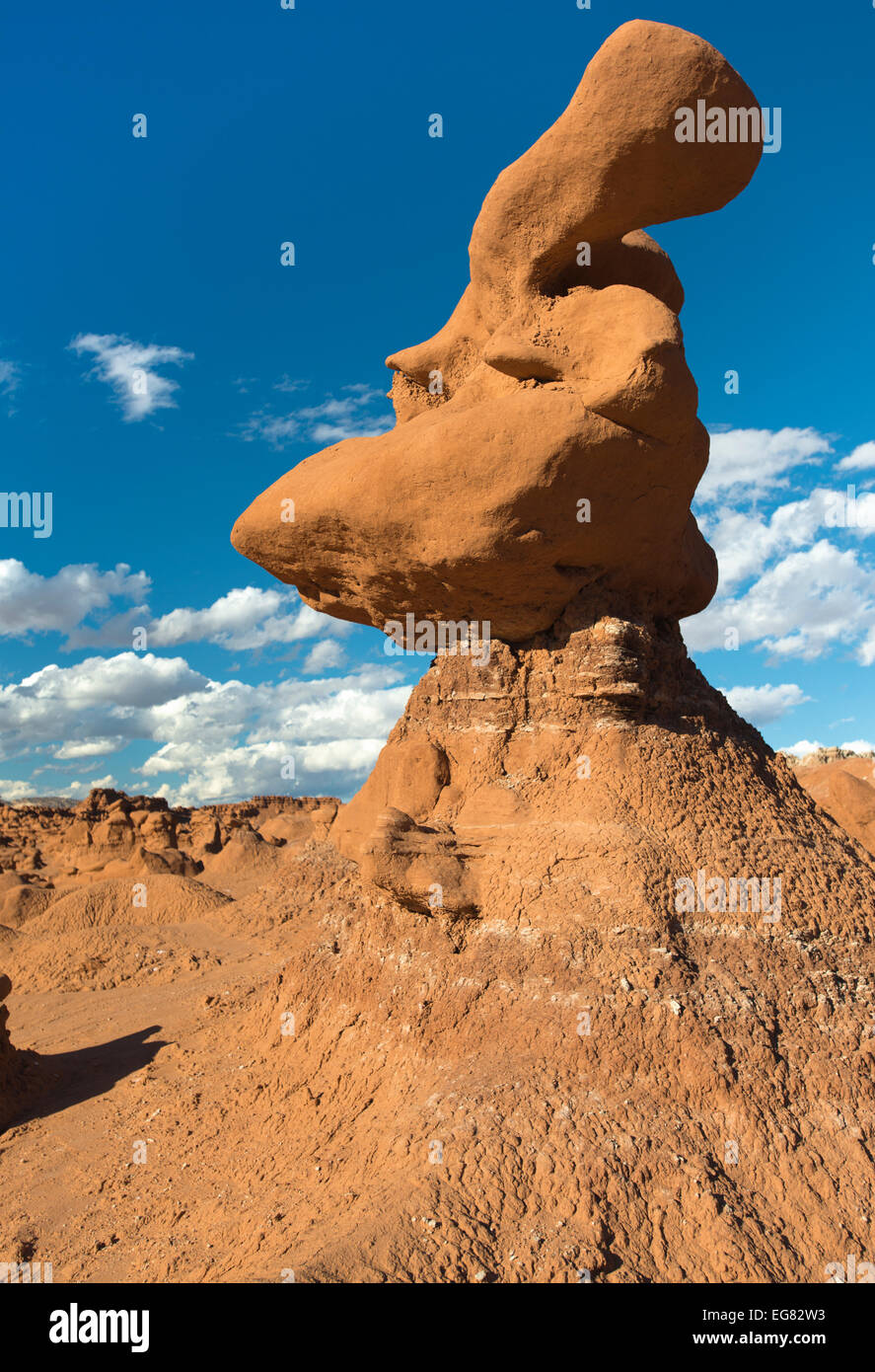 One of the curious formations at Goblin Valley State Park, Utah - Stock Image