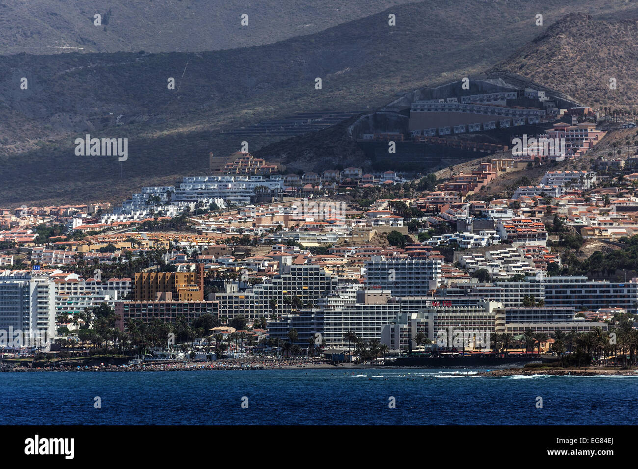 Hotel complexes, Los Cristianos, Tenerife, Canary Islands, Spain - Stock Image