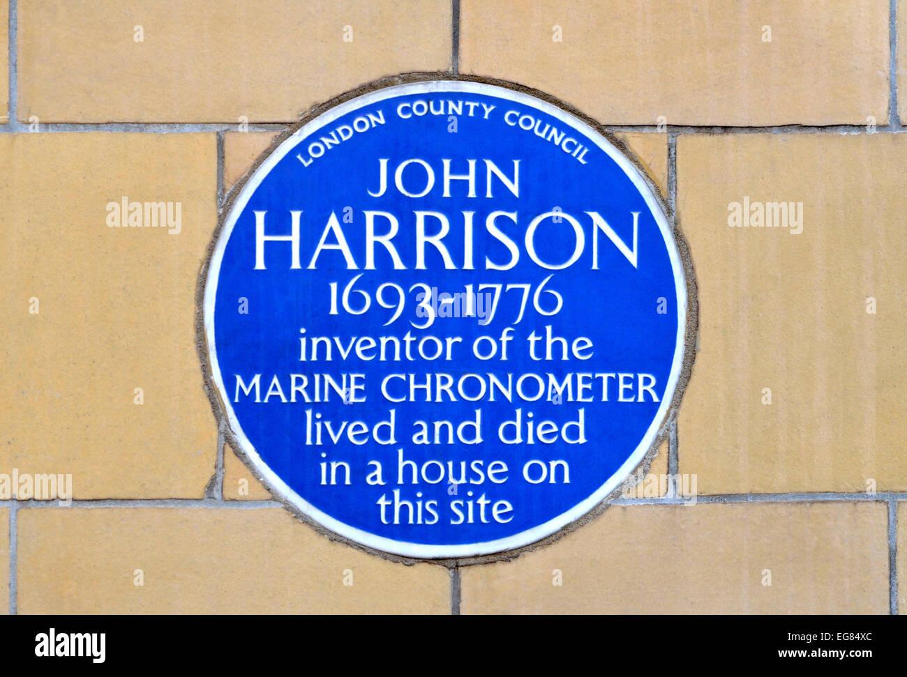 London, England, UK. Blue plaque at the house of John Harrison (inventor of the Marine Chronometer) Dane Street, - Stock Image