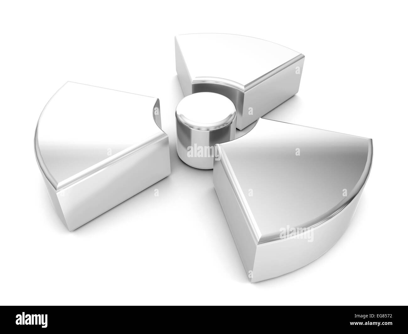 silver radiation symbol on a white background. - Stock Image