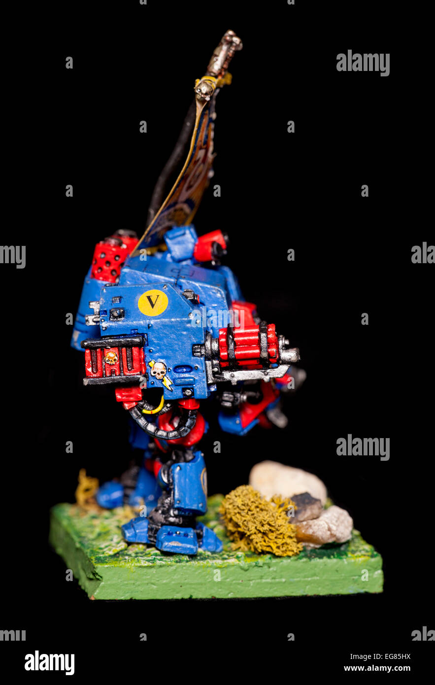 warhammer 40k ultramarine elite dreadnought well painted - Stock Image