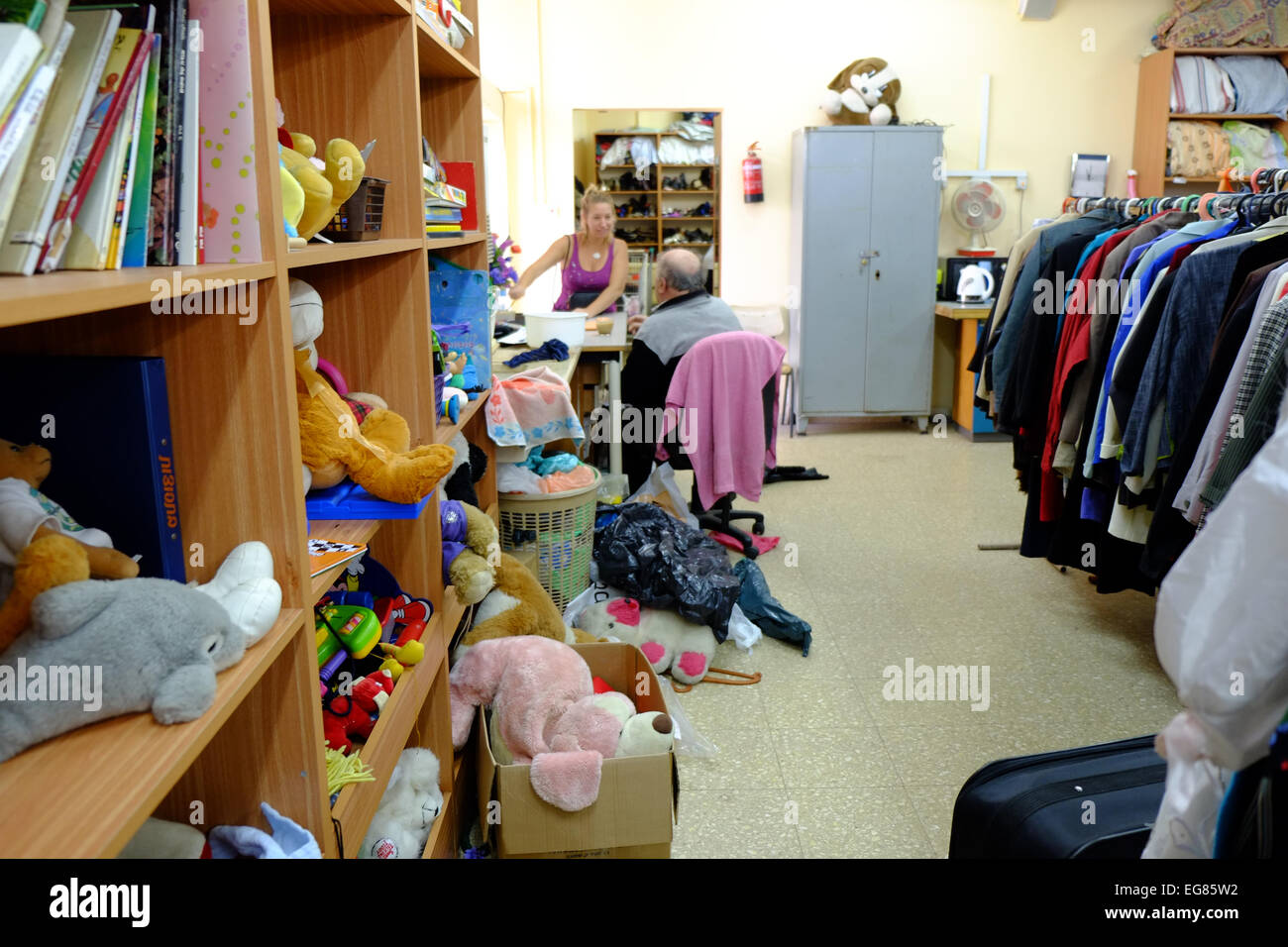 Second hand clothes shop in Emek Hefer, Israel - Stock Image