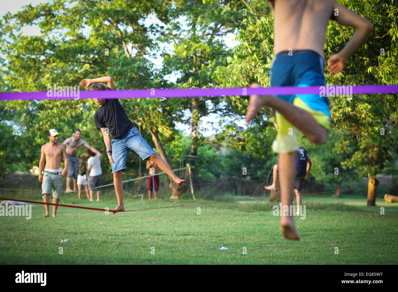 Slack rope training - Stock Image