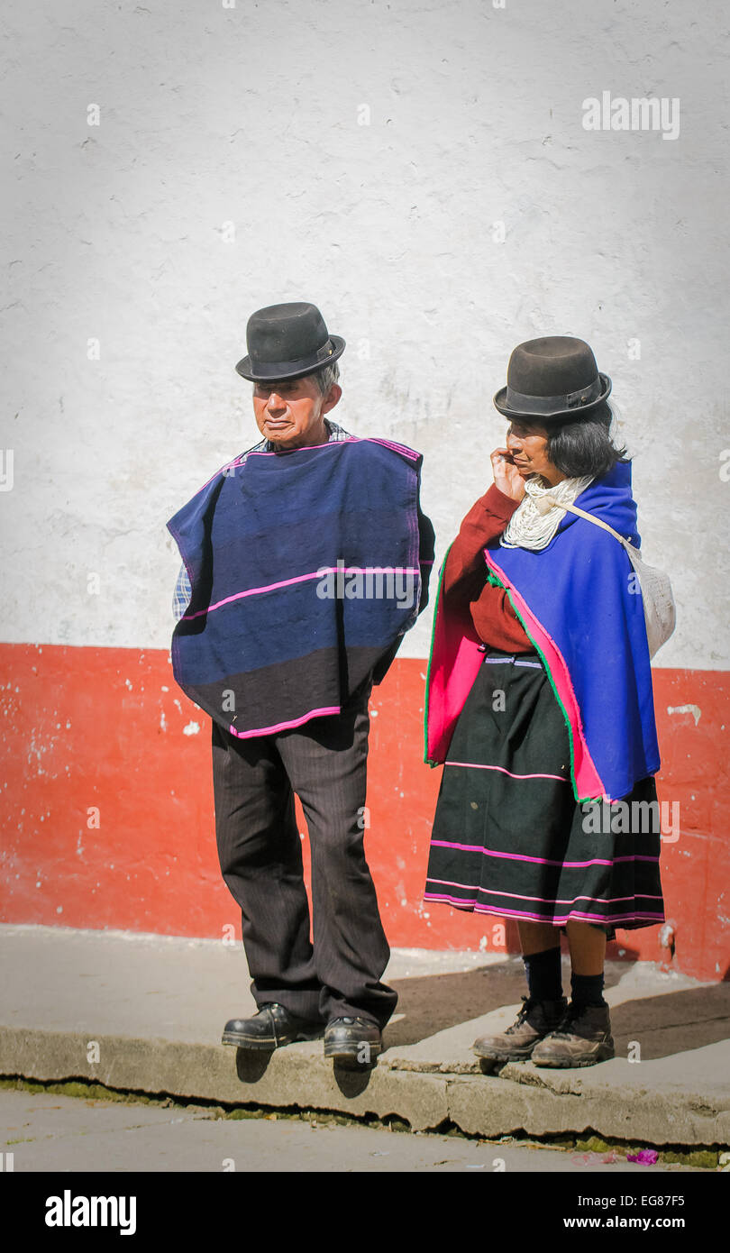 SILVIA, POPAYAN, COLOMBIA - November, 24: Guambiano indigenous people on the market day in Silvia village on November, - Stock Image
