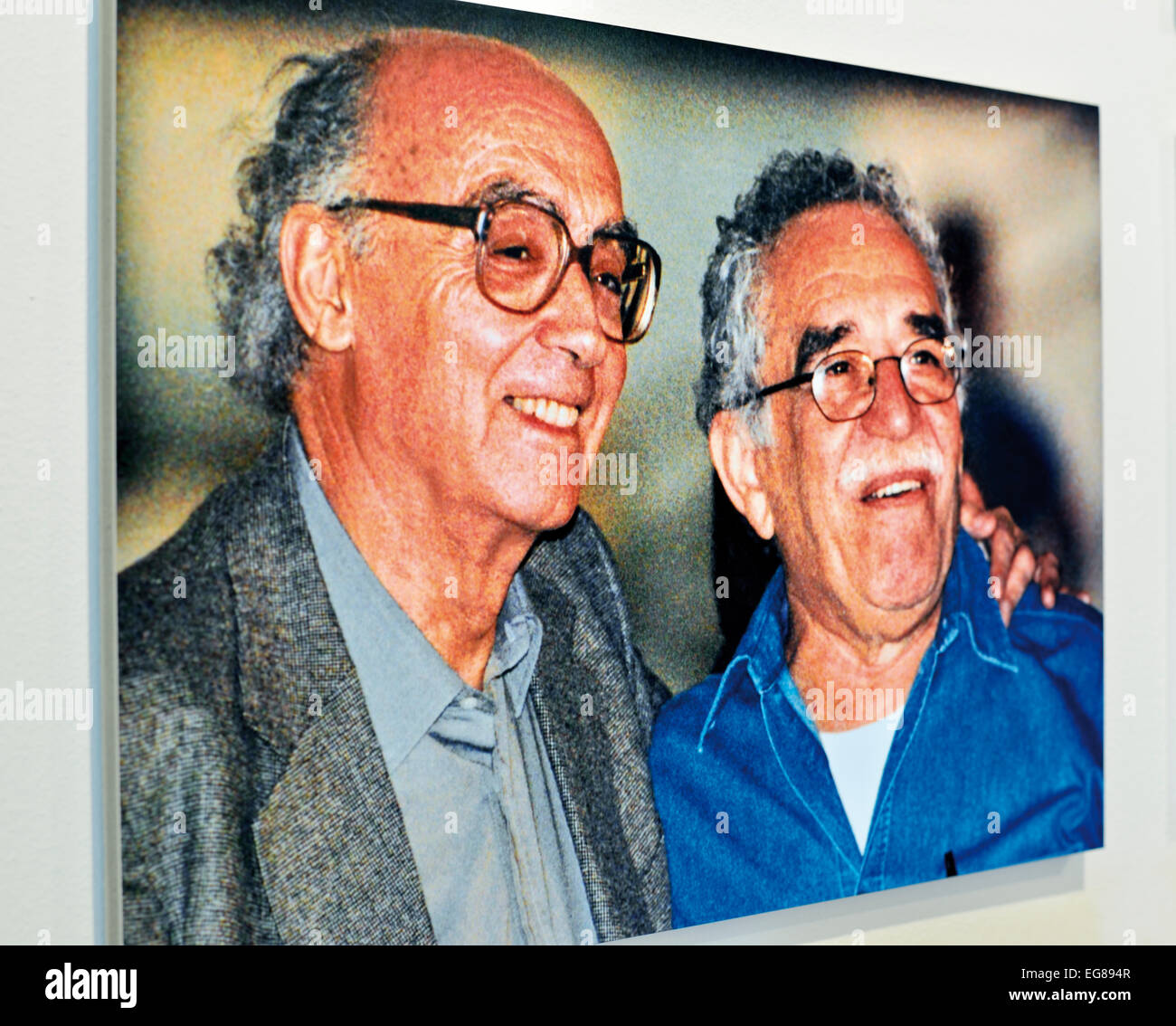 Portugal, Lisbon: Picture of writers José Saramago and Gabriel García Marquéz in the José Saramago - Stock Image