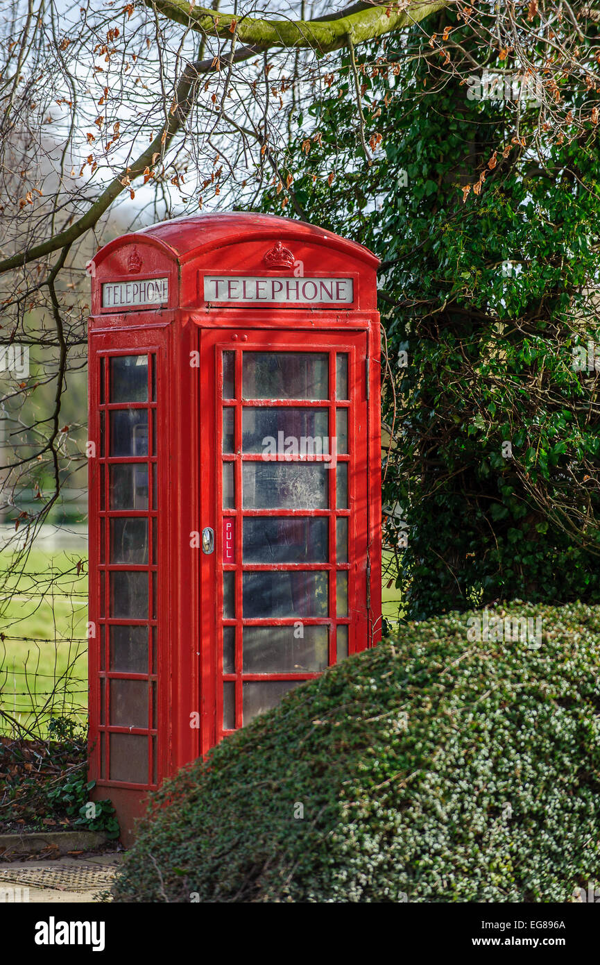 Traditional red public telephone box kiosk on a street in  England, UK, Britain - Stock Image