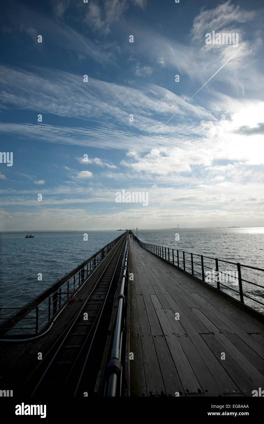 Southend Pier, Southend-on-Sea, Essex, England,UK. 18 Feb 2015 The longest pleasure pier in the world at 1.34 miles - Stock Image