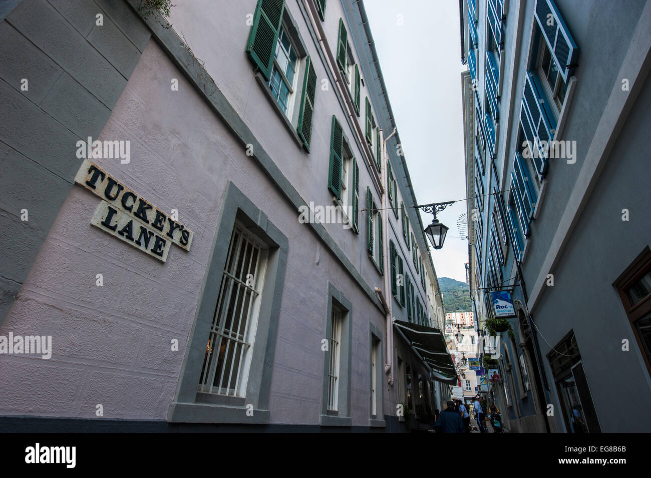 Tuckey's Lane in the old town of Gibraltar, Europe. - Stock Image