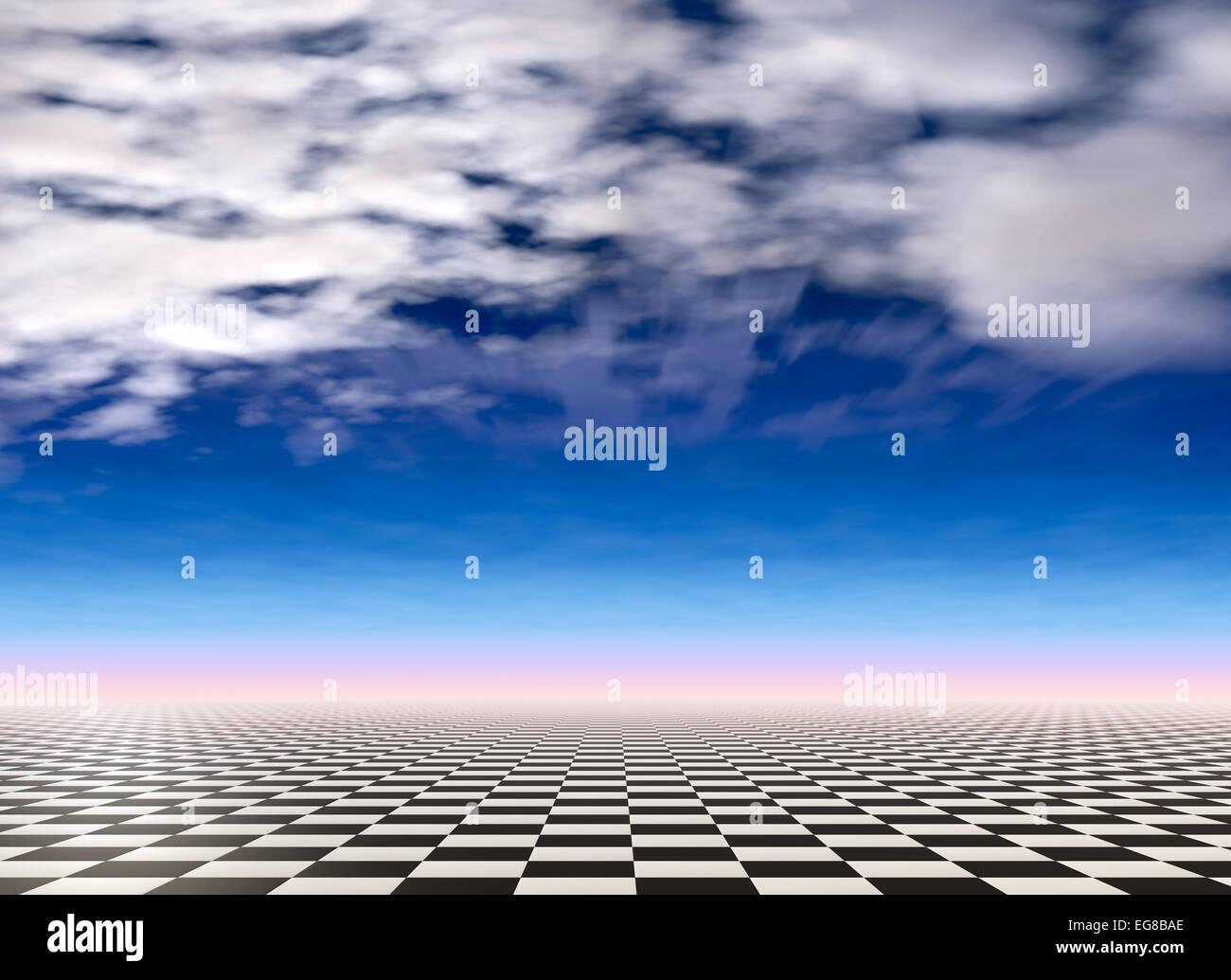 Checkered landscape background Stock Photo