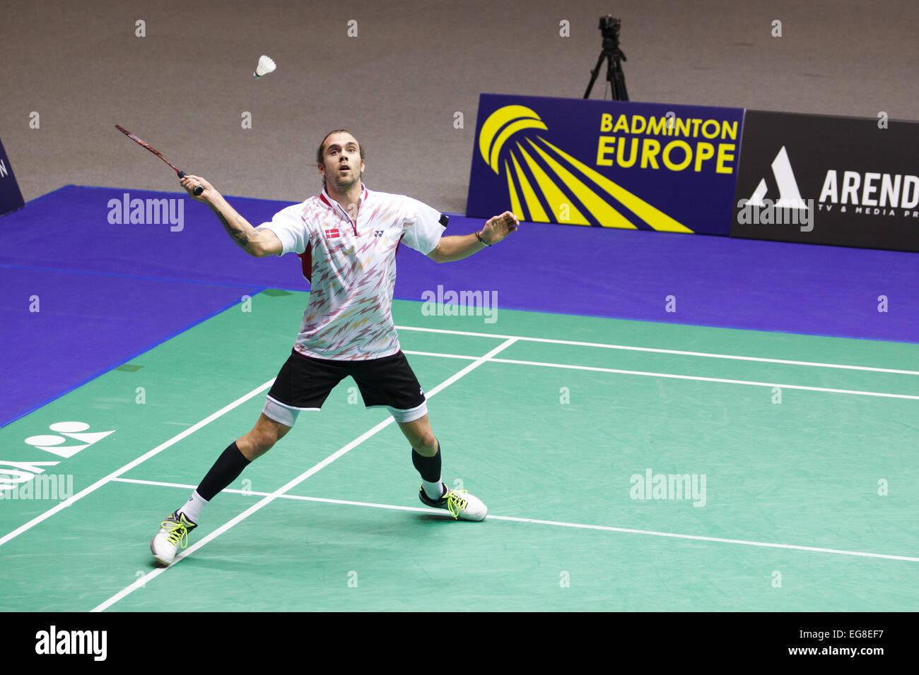 LEUVEN, BELGIUM, 15/02/2015. Badminton player Jan O Jorgensen (Denmark, pictured) beats Toby Penty (England) in - Stock Image