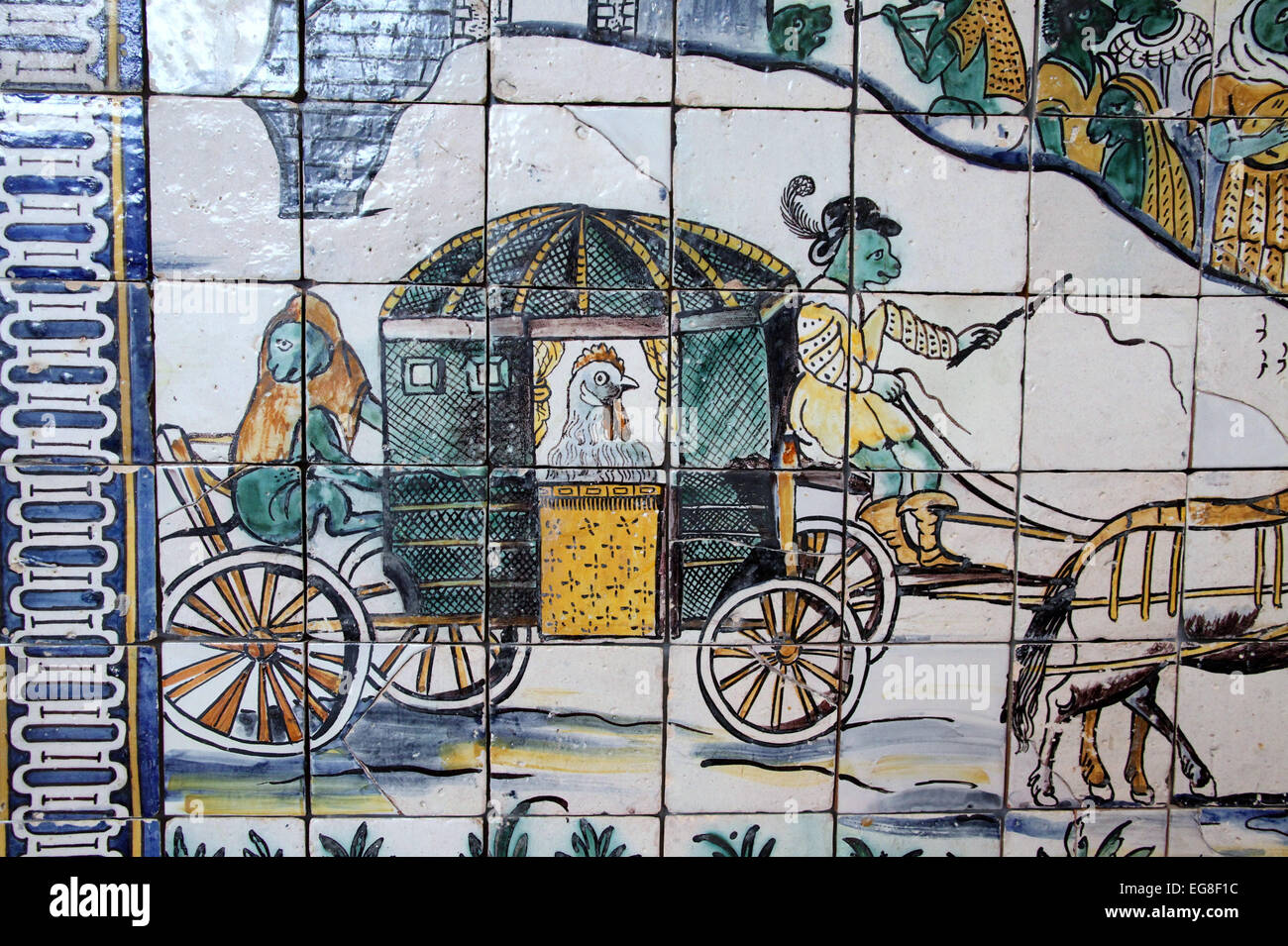 The Chickens Wedding on display at the National Tile Museum in Lisbon - Stock Image