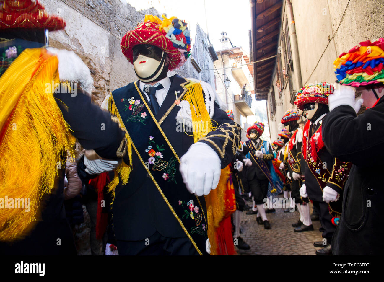 Italy, Lombardy, Carnival of Bagolino with masks dating back to the sixteenth century. The set dancing and dancing - Stock Image