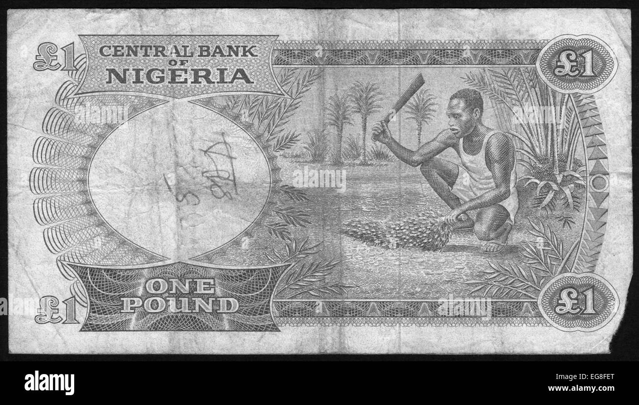 Banknote,Currency,1,Nigeria - Stock Image