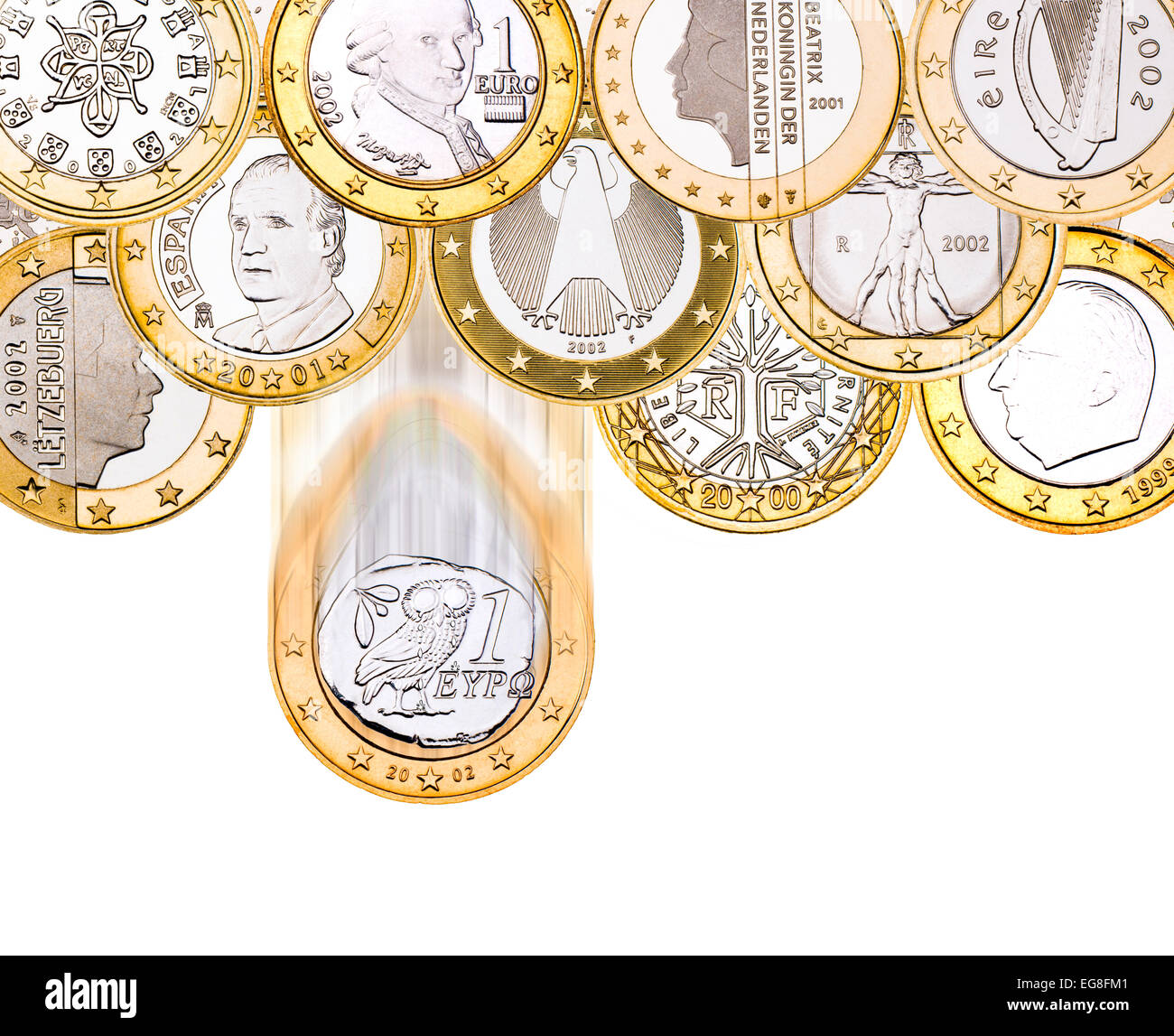 Greek Euro coin falling from those of other Euro countries - Stock Image