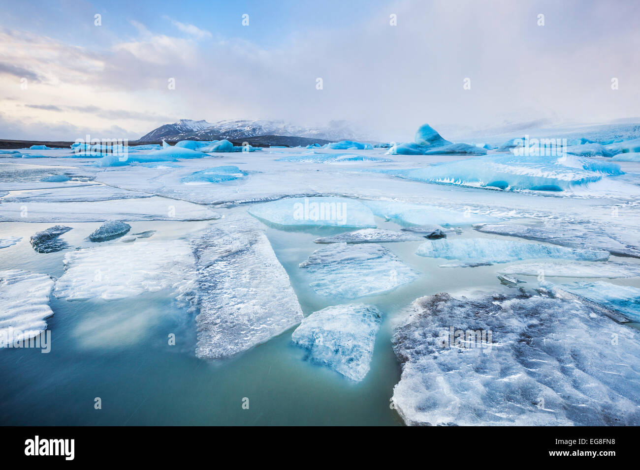 Fjallsarlon Glacier lagoon South East Iceland Europe - Stock Image