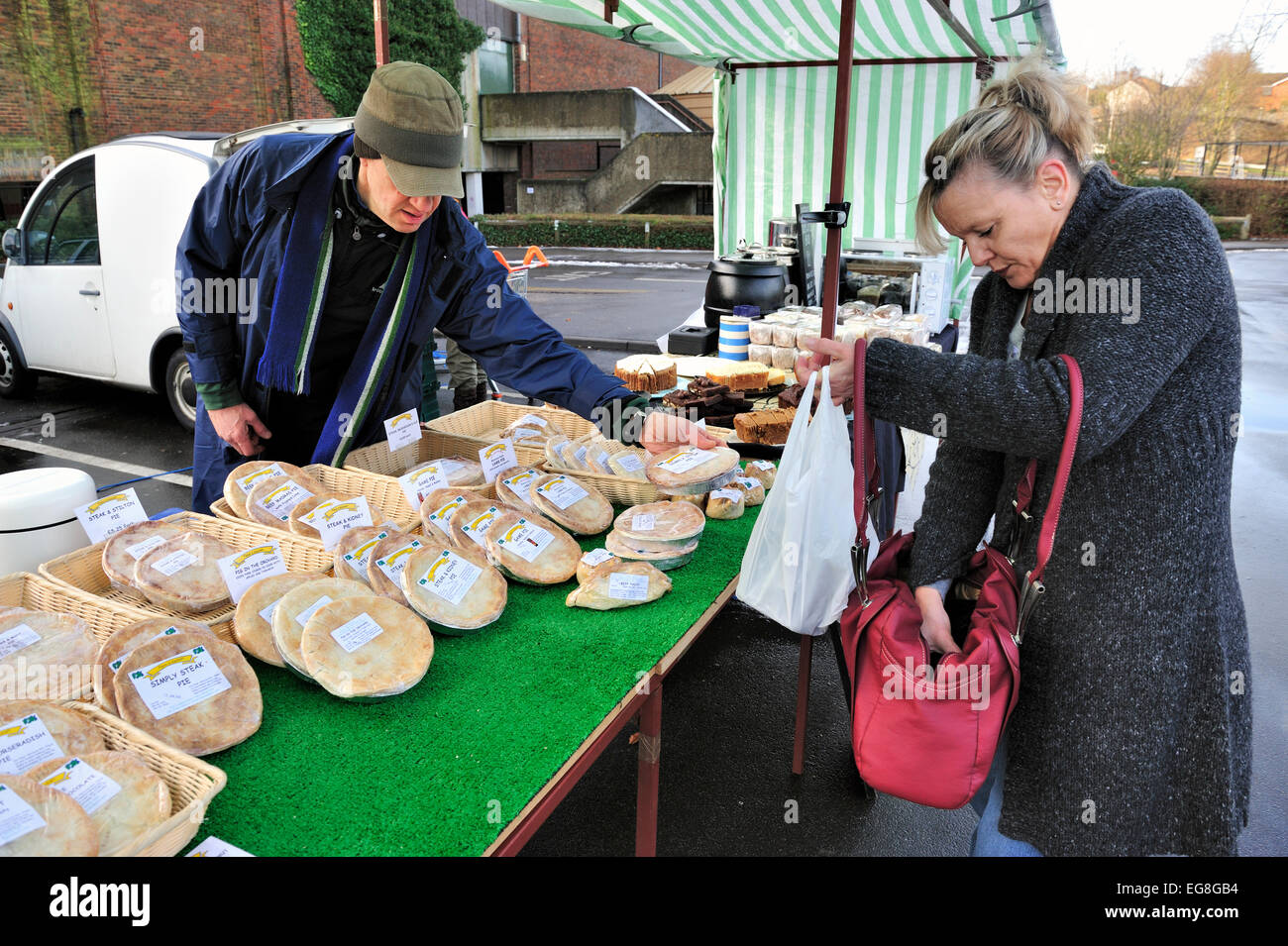 meat pies for sale at a local farmers market - Stock Image