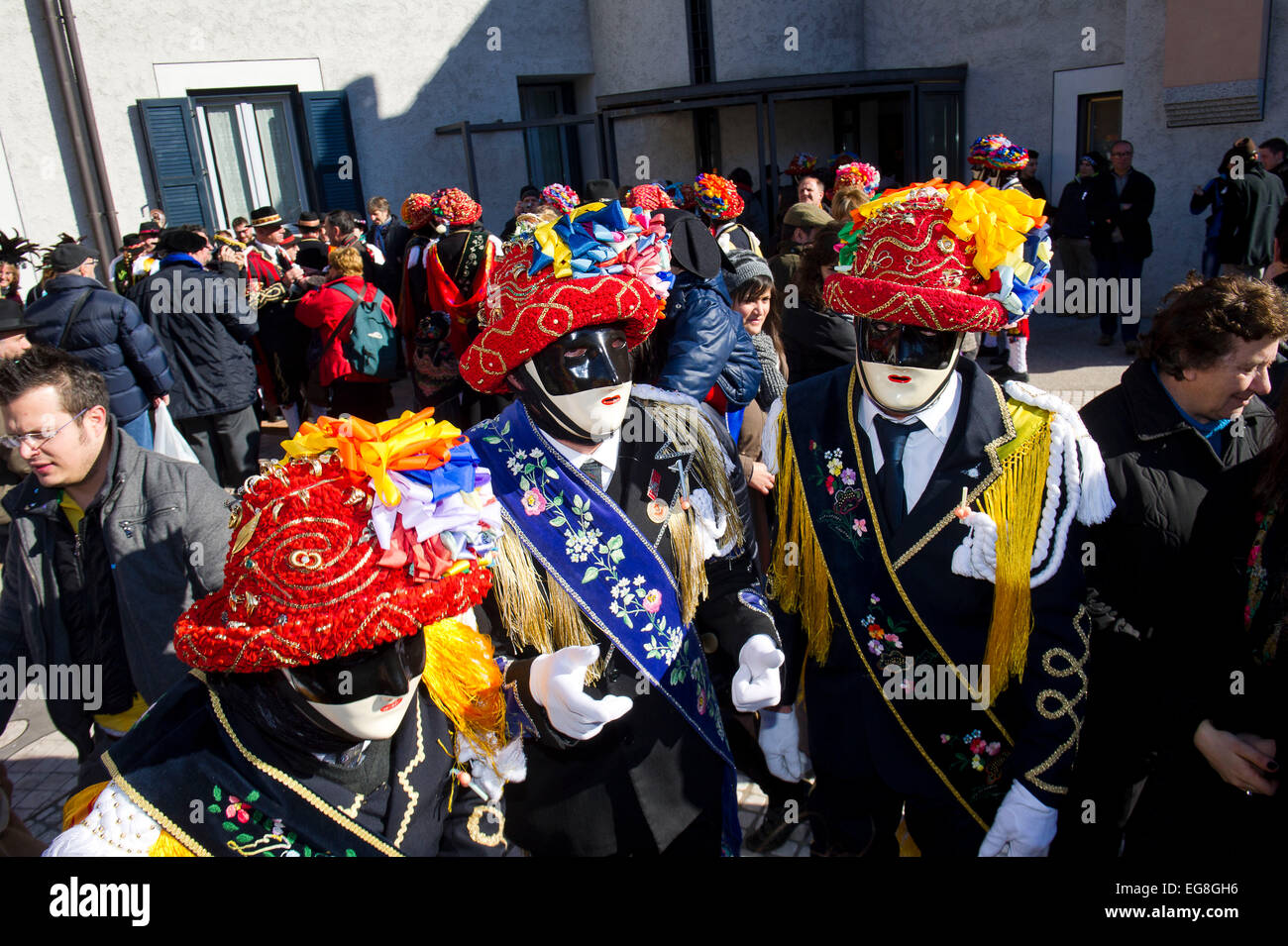 Italy, Lombardy, Bagolino, Carnival of Bagolino. The masks dating back to the sixteenth century dance on the streets Stock Photo