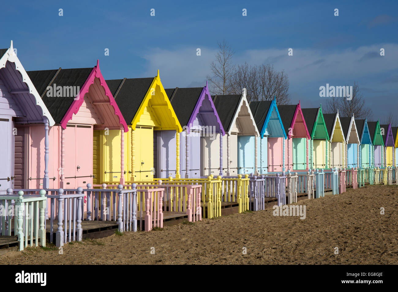 Colourful Beach huts on Mersea Island,Essex,England - Stock Image