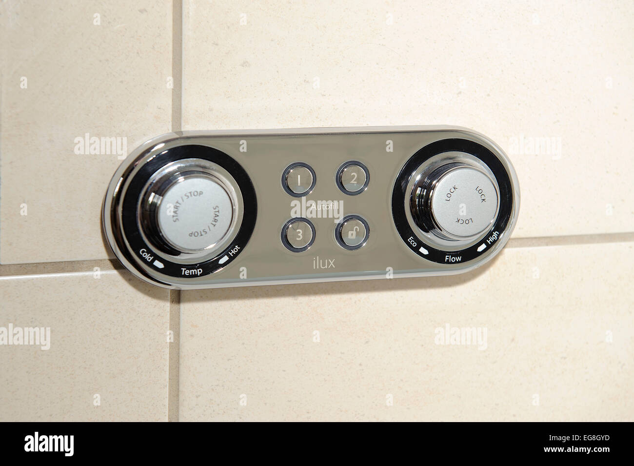 electronic bath fill and temperature control - Stock Image