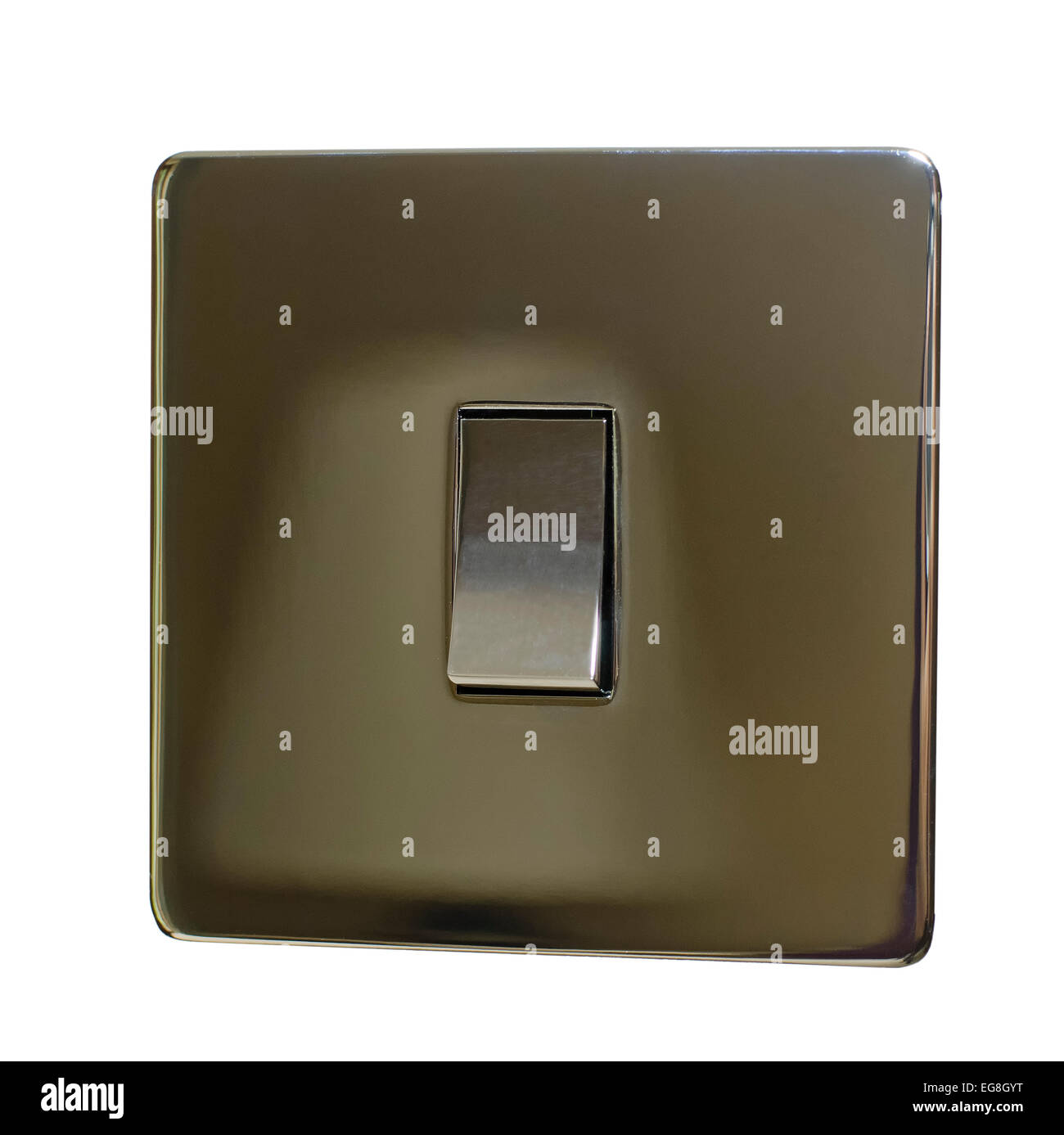 chrome electric light switch - Stock Image