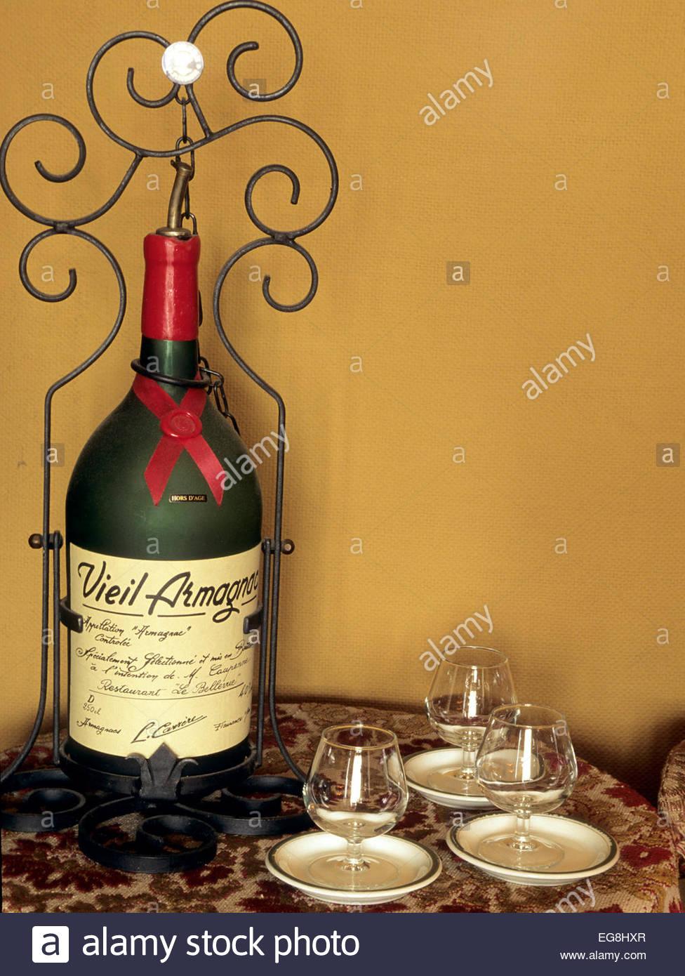 Old bottle of Armagnac, Gers, France - Stock Image