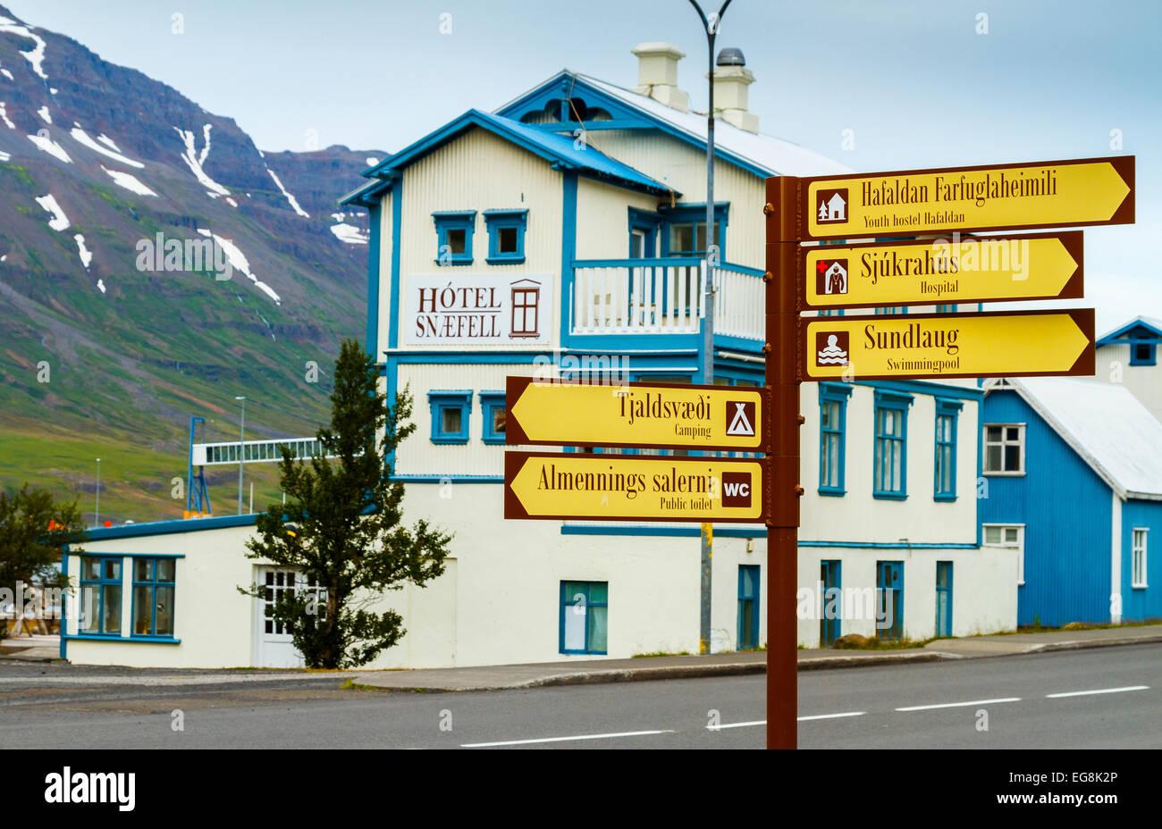 Seydisfjordur town. East Fjords. Iceland, Europe. - Stock Image