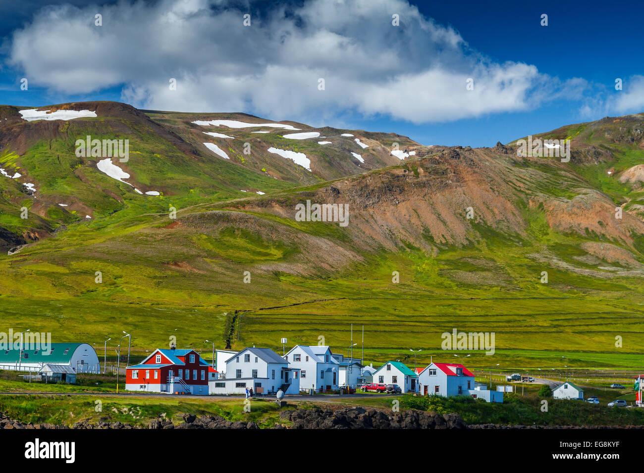 Bakkagerdi village. Borgarfjordur Eystri Fjord. East Fjords. Iceland, Europe - Stock Image
