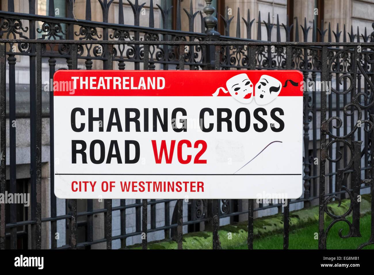 Charing Cross Road, WC2 street name sign, signifying location for Londons theatreland. - Stock Image