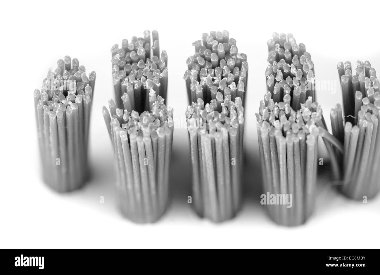 Bristles from a cleaning brush. - Stock Image