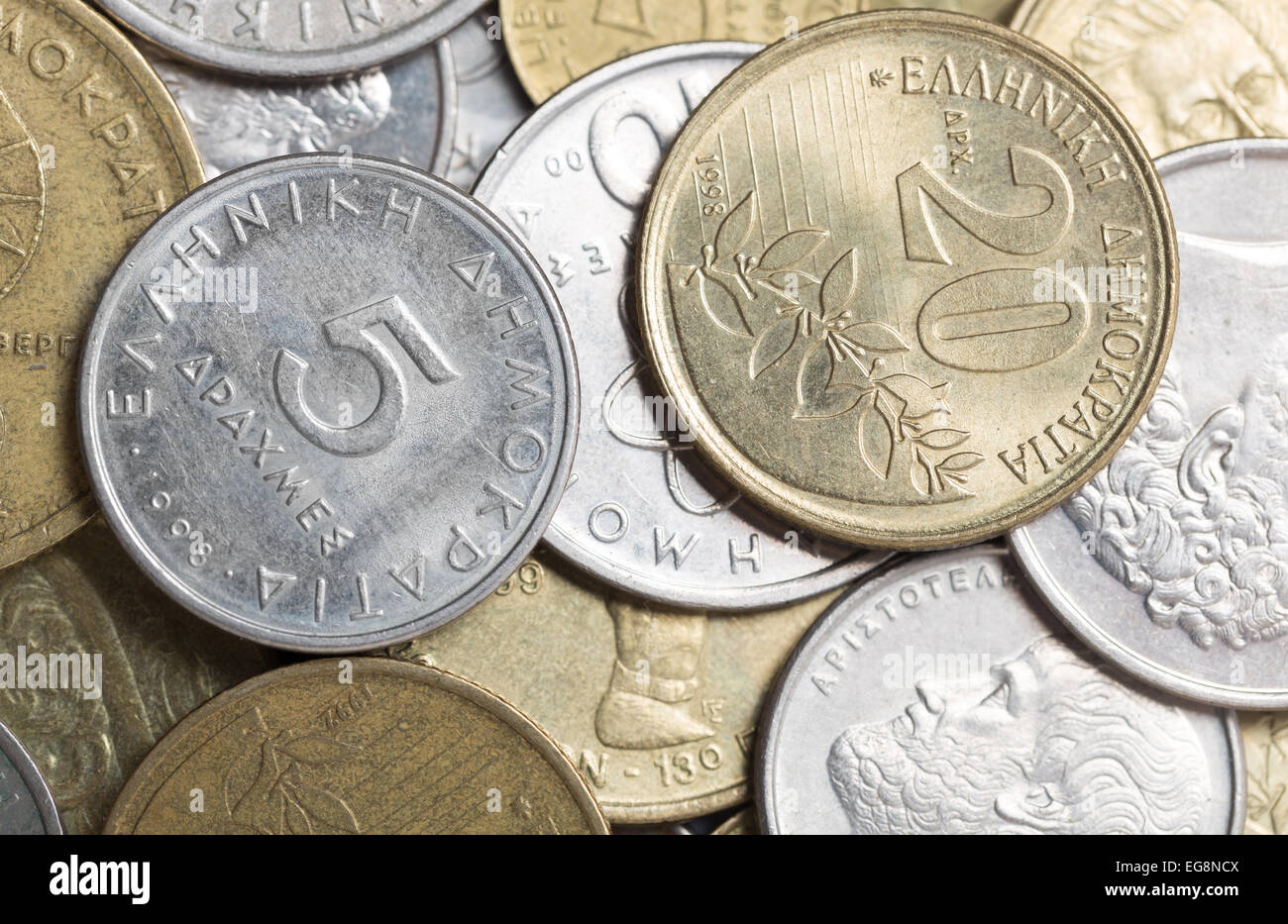 An assortment of Greek drachma coins from the 1990s - Stock Image