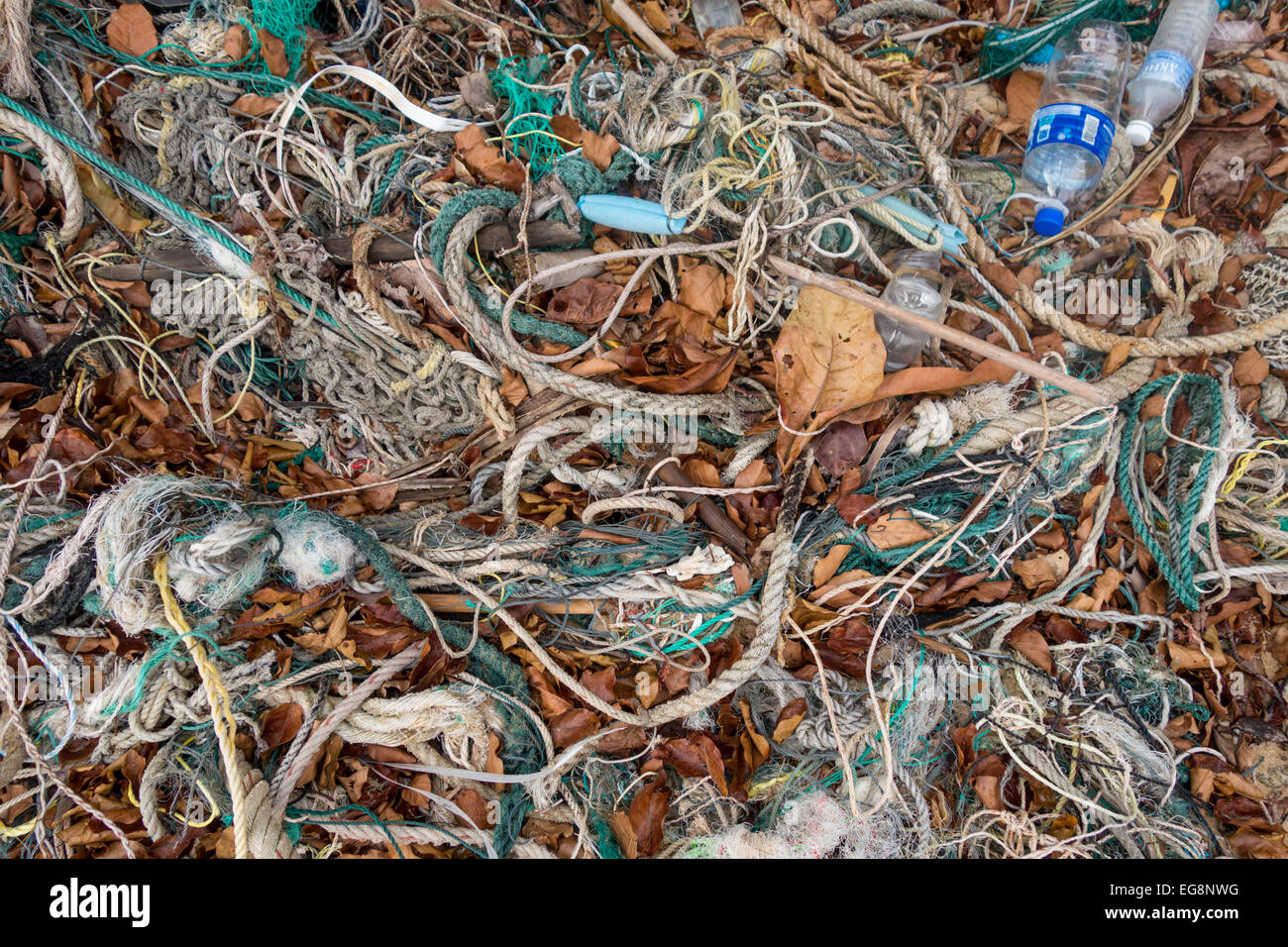 Garbage left on the beach in Malaysia - Stock Image