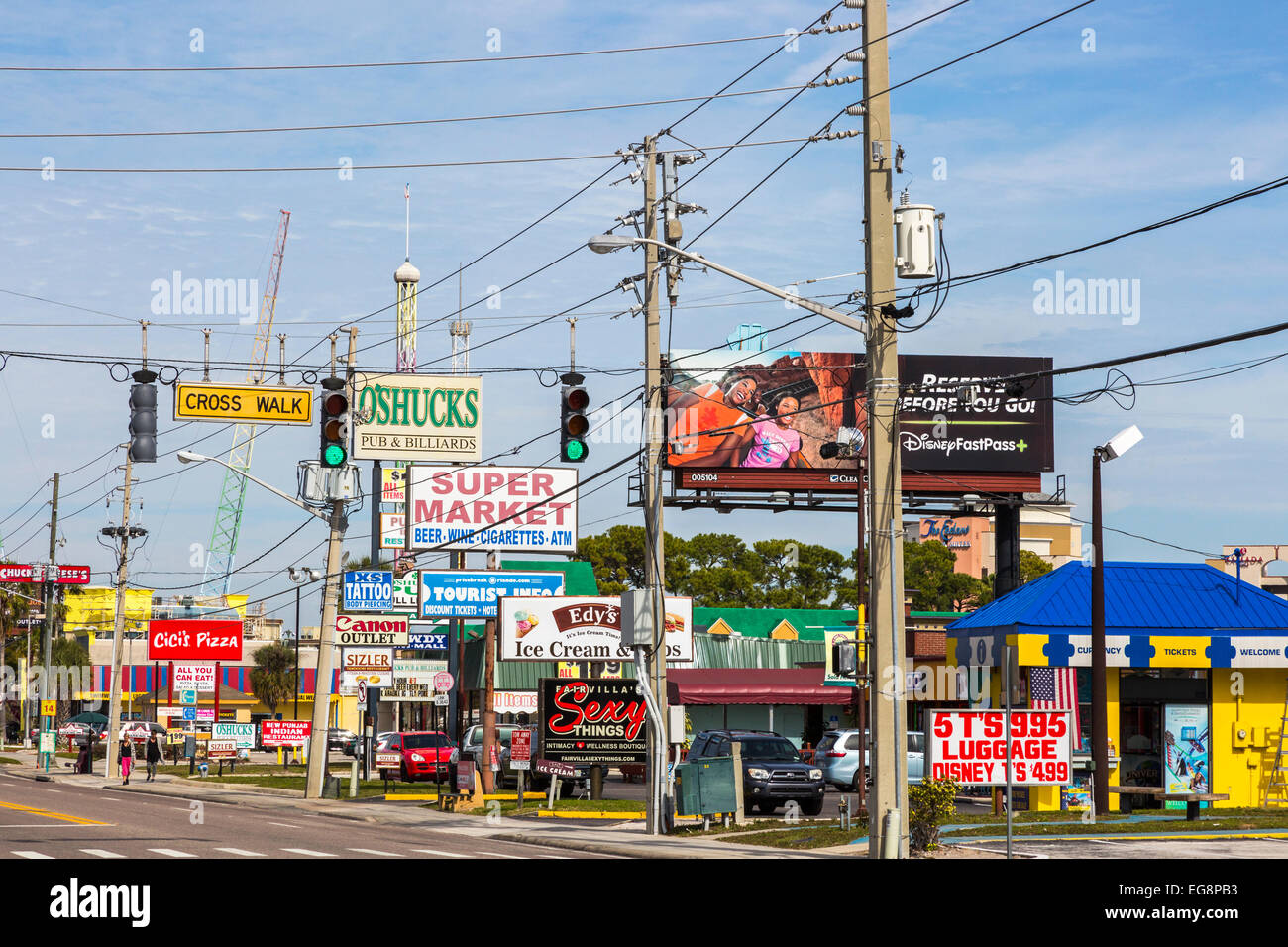Advertising billboards on International Drive, Orlando, Florida, America - Stock Image